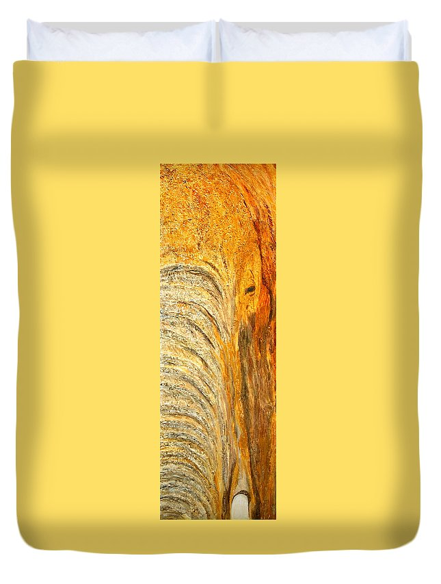 Elephant Duvet Cover featuring the painting Elephant In The Setting Sun by Shirley Wilberforce