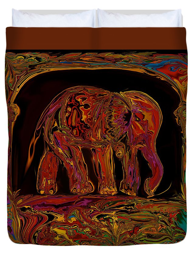 Animal Duvet Cover featuring the digital art Elephant by Rabi Khan