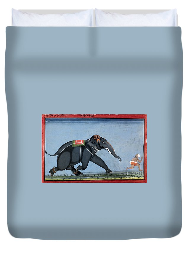 1750 Duvet Cover featuring the photograph Elephant & Trainer, C1750 by Granger