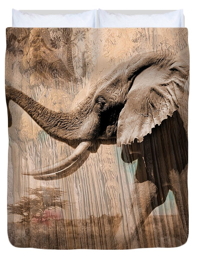 Elephant Duvet Cover featuring the photograph Elephant Visions Wall Art by Karla Beatty