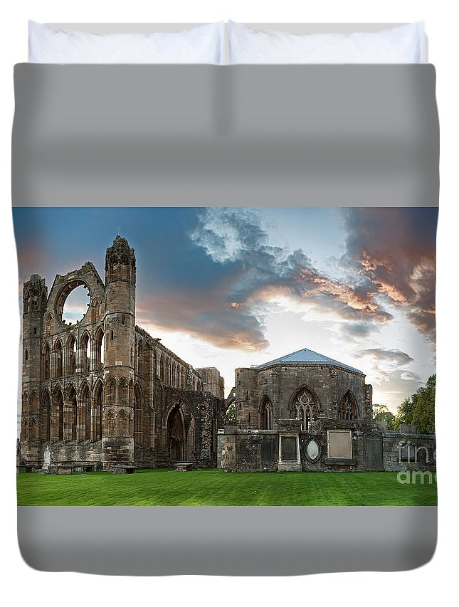 Elgin Duvet Cover featuring the photograph Elgin Cathedral by Jane Rix