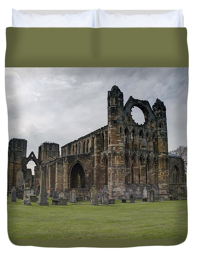 Elgin Duvet Cover featuring the photograph Elgin Cathedral - East View by Mark Smith