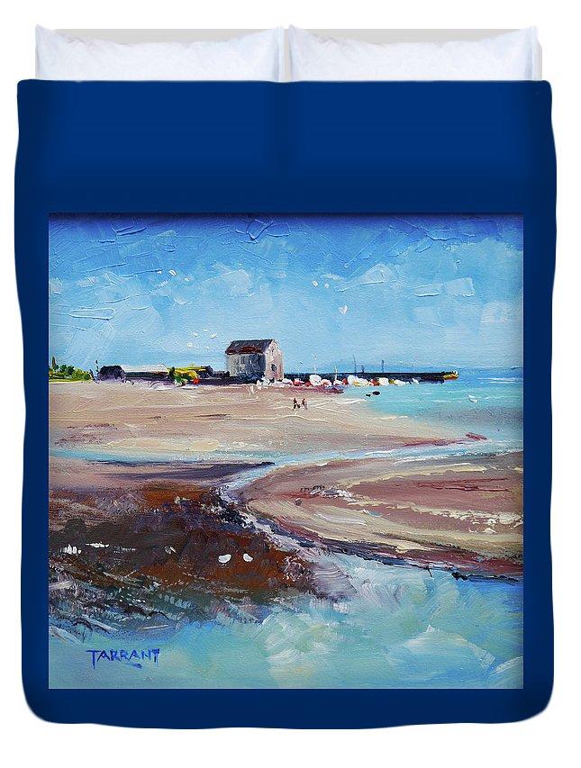Elie Beach Duvet Cover featuring the painting Elie Beach 2018 Oil by Peter Tarrant