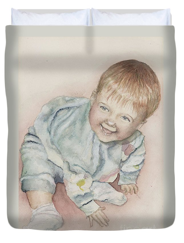 Girl Duvet Cover featuring the painting Elise by Nadine Rippelmeyer