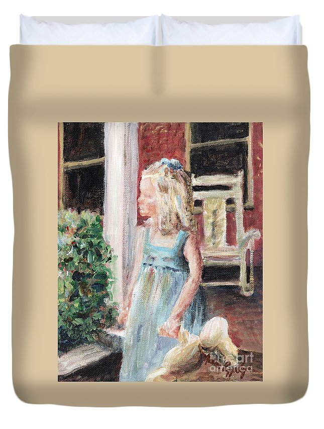 Girl Duvet Cover featuring the painting Elizabeth Anne by Nadine Rippelmeyer