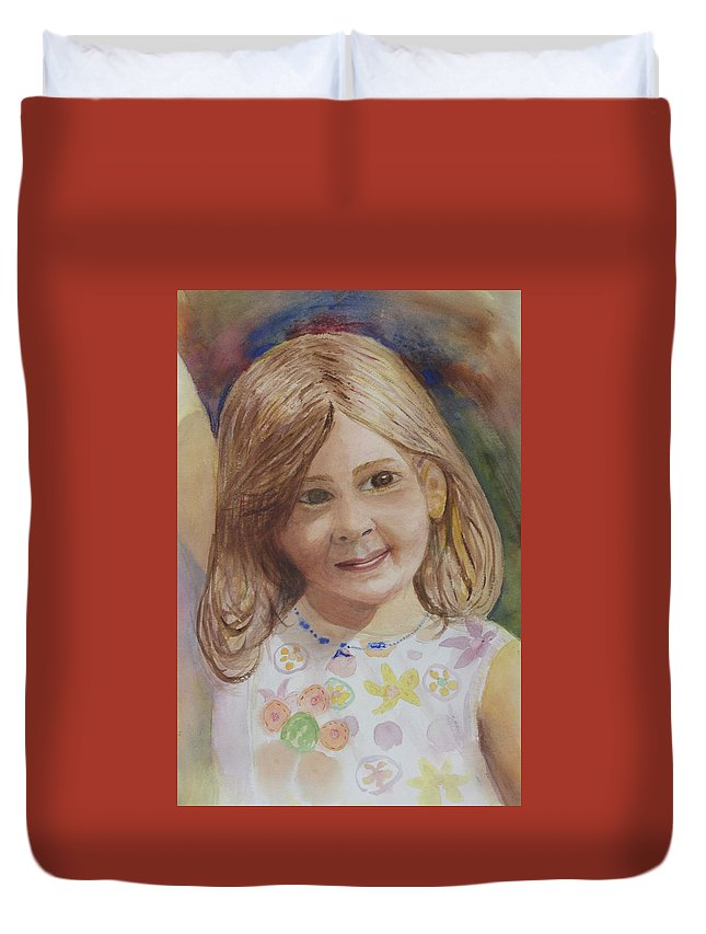 Elizabeth Duvet Cover featuring the painting Elizabeth by Donna Walsh