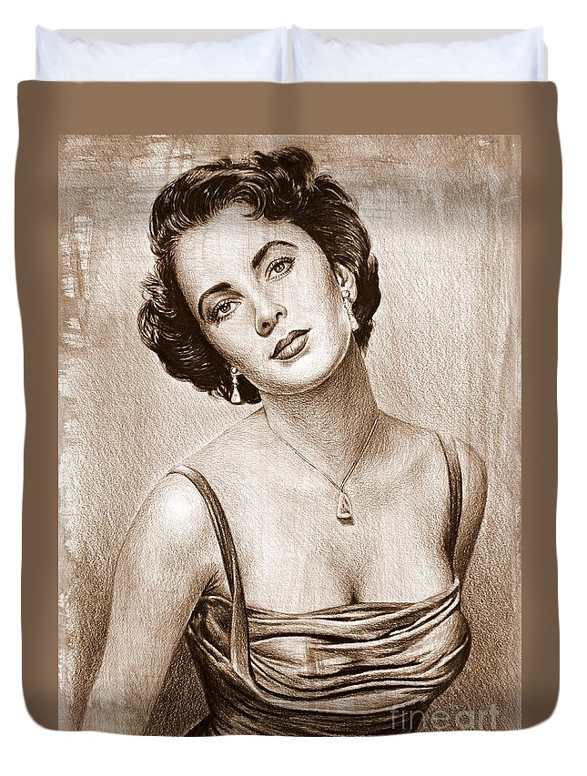 Elizabeth Taylor Duvet Cover featuring the painting Elizabeth Taylor by Andrew Read