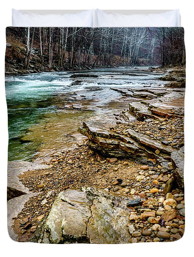 Cherry Falls Duvet Cover featuring the photograph Elk River In The Rain by Thomas R Fletcher