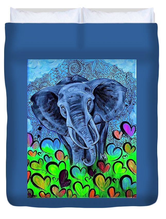 Elephant Duvet Cover featuring the painting Elley by Artist RiA