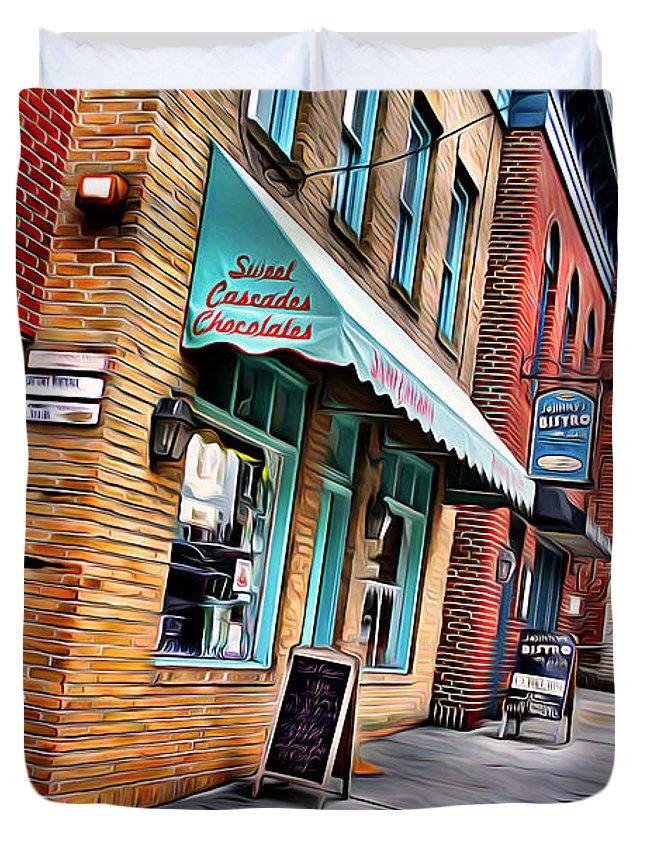 Ellicott Duvet Cover featuring the digital art Ellicott City Shops by Stephen Younts