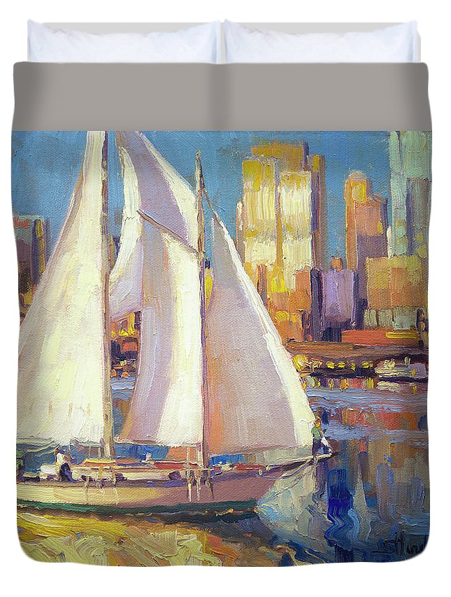 Seattle Duvet Cover featuring the painting Elliot Bay by Steve Henderson