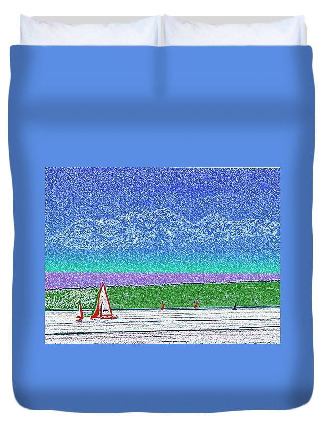 Seattle Duvet Cover featuring the digital art Elliott Bay Sail by Tim Allen