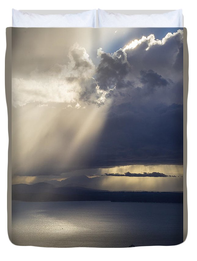 Seattle Duvet Cover featuring the photograph Elliott Bay Storm Clouds Ferry by Mike Reid