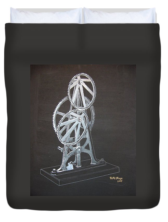 Elliptical Gears Duvet Cover featuring the painting Elliptical Gears by Richard Le Page