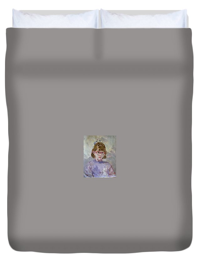 Portrait Duvet Cover featuring the painting Elona by Ylli Haruni