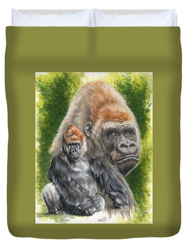 Gorilla Duvet Cover featuring the mixed media Eloquent by Barbara Keith