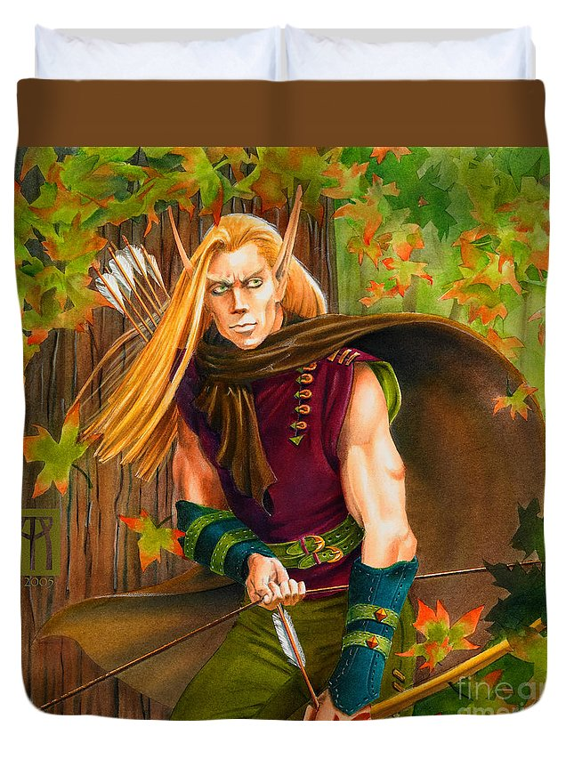 Elf Duvet Cover featuring the painting Elven Hunter by Melissa A Benson