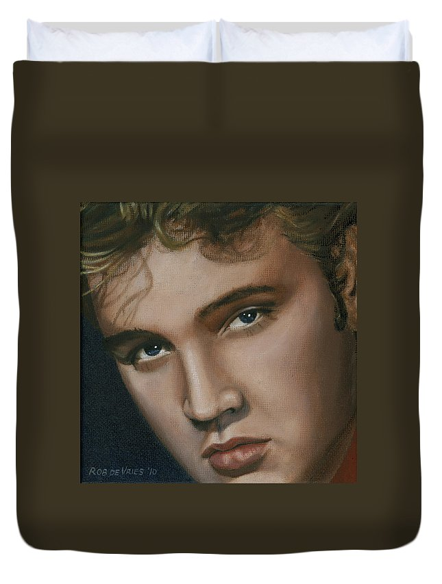 Elvis Duvet Cover featuring the painting Elvis 24 1955 by Rob De Vries