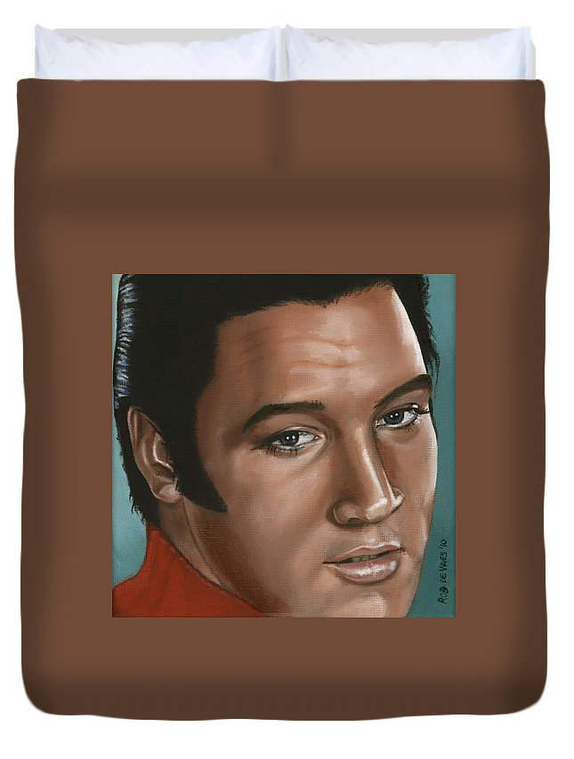 Elvis Duvet Cover featuring the painting Elvis 24 1968 by Rob De Vries