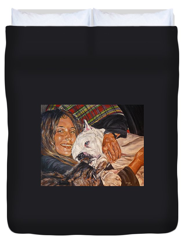 Pet Duvet Cover featuring the painting Elvis And Friend by Bryan Bustard