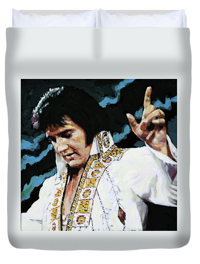 Elvis Presley Duvet Cover featuring the painting Elvis - How Great Thou Art by John Lautermilch