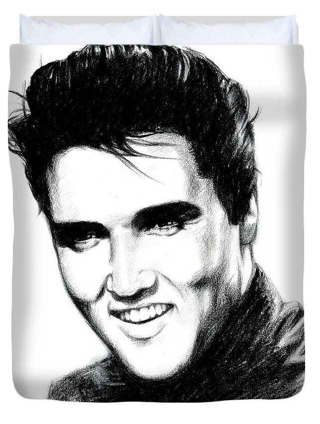 Elvis Duvet Cover featuring the drawing Elvis by Lin Petershagen