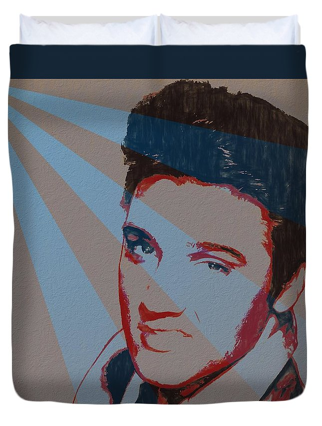 Elvis Pop Art Poster Duvet Cover featuring the painting Elvis Pop Art Poster by Dan Sproul