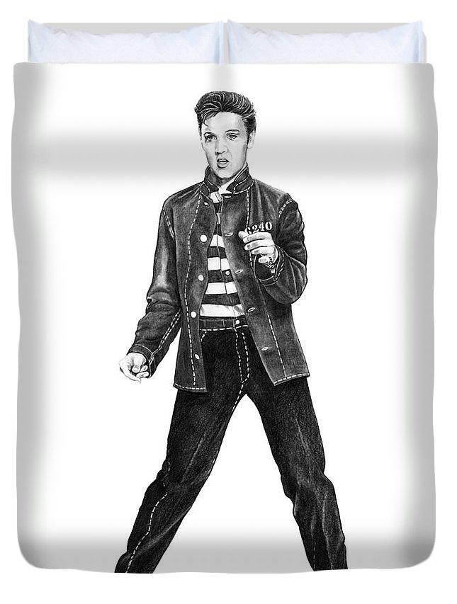 Elvis Duvet Cover featuring the drawing Elvis Presley  by Murphy Elliott