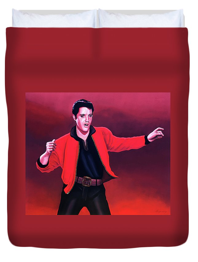 Elvis Duvet Cover featuring the painting Elvis Presley 4 Painting by Paul Meijering