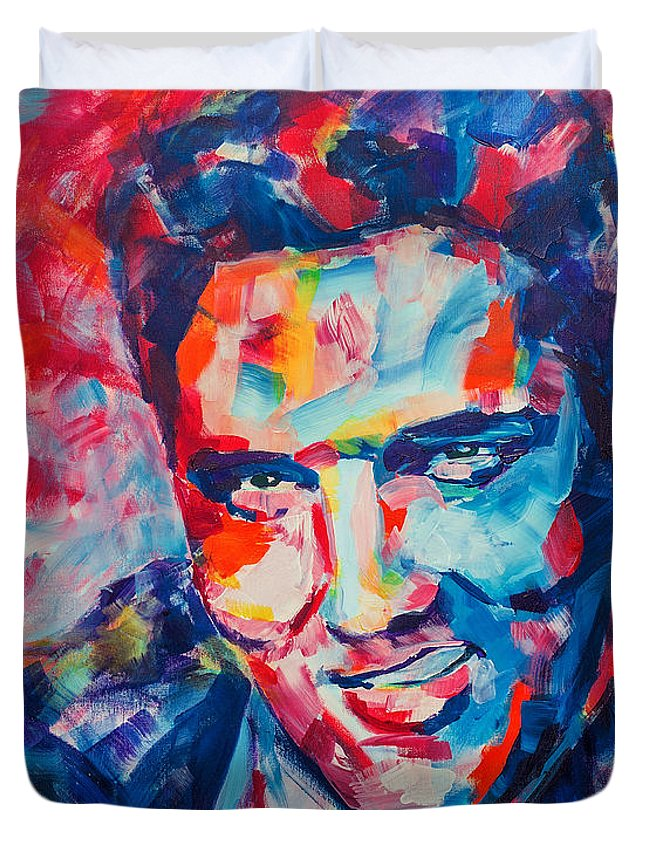 Elvis Duvet Cover featuring the painting Elvis Presley by Dima Mogilevsky