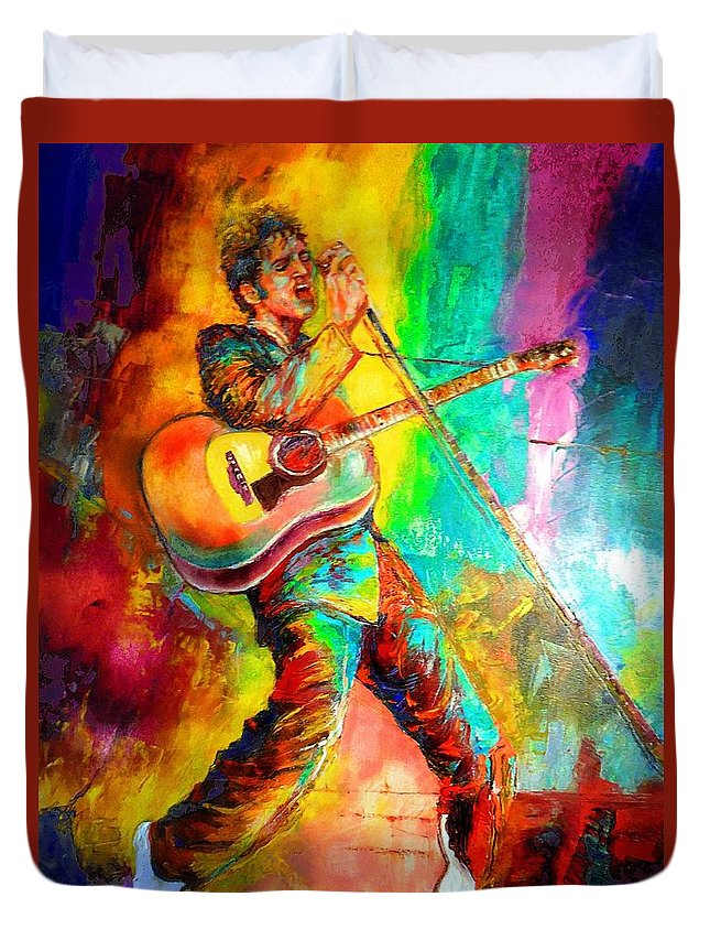 Elvis Presley Duvet Cover featuring the painting Elvis Presley by Leland Castro