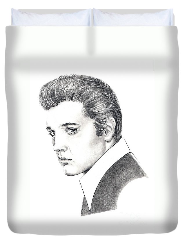 Pencil. Portrait Duvet Cover featuring the drawing Elvis Presley by Murphy Elliott