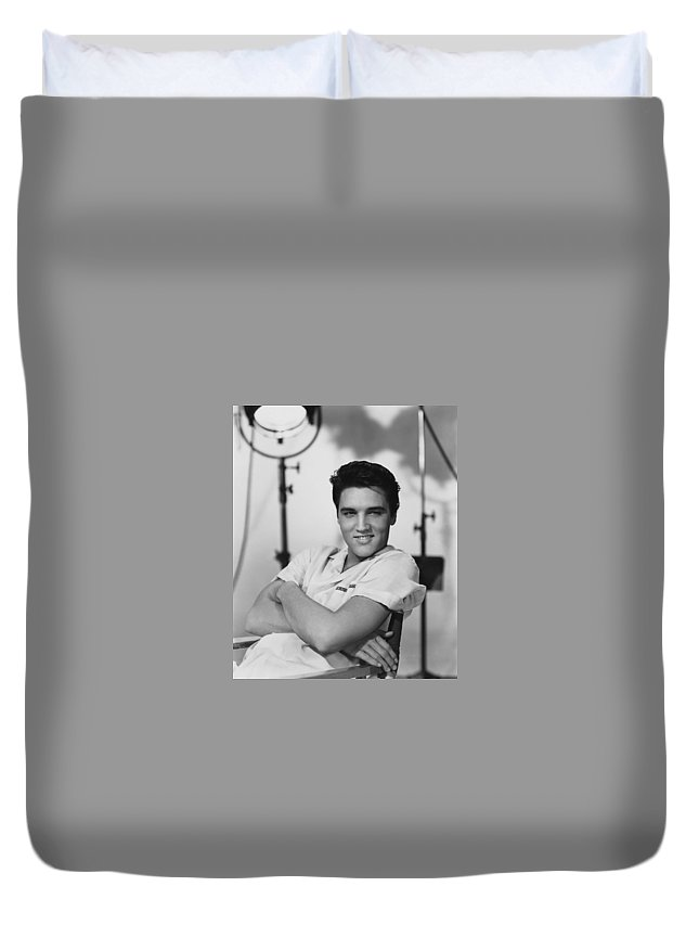 Duvet Cover featuring the photograph Elvis Presley On Set During Movie Making by Peter Nowell