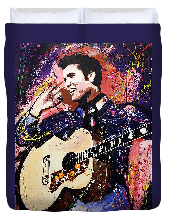 Elvis Duvet Cover featuring the painting Elvis Presley by Richard Day