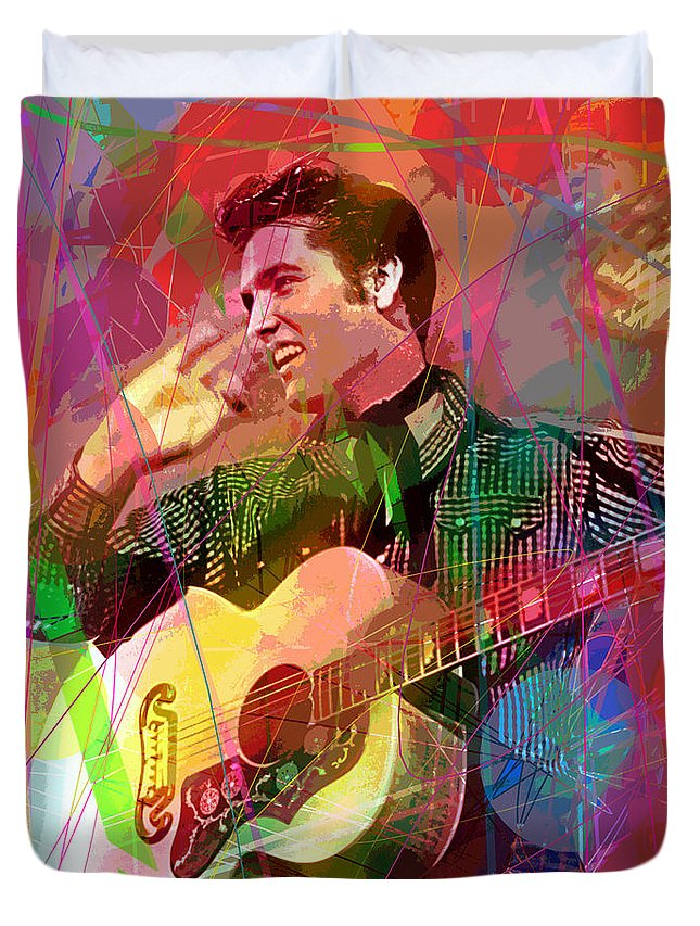 Elvis Duvet Cover featuring the painting Elvis Rockabilly by David Lloyd Glover