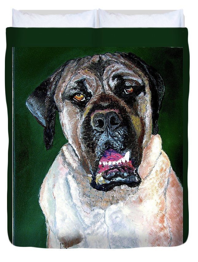 Dog Portrait Duvet Cover featuring the painting Ely by Stan Hamilton