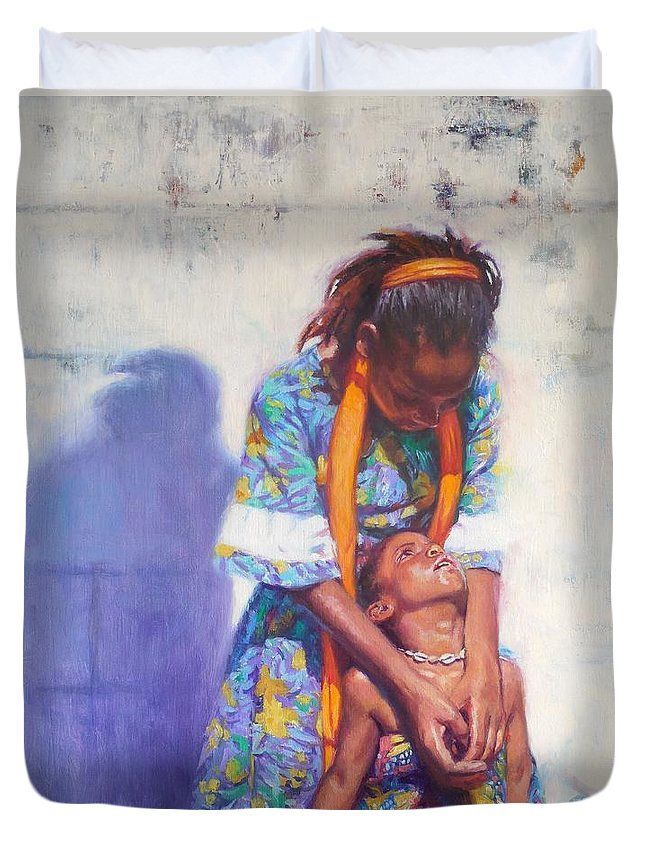 Black Art Duvet Cover featuring the painting Emancipation by Colin Bootman