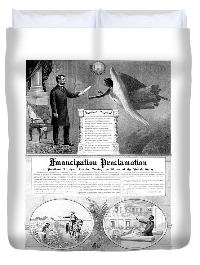 Emancipation Proclamation Duvet Cover featuring the mixed media Emancipation Proclamation by War Is Hell Store