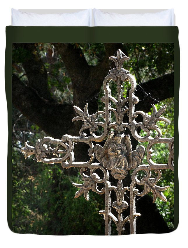 Embellished Cross Duvet Cover featuring the photograph Embellished Cross by Peter Piatt