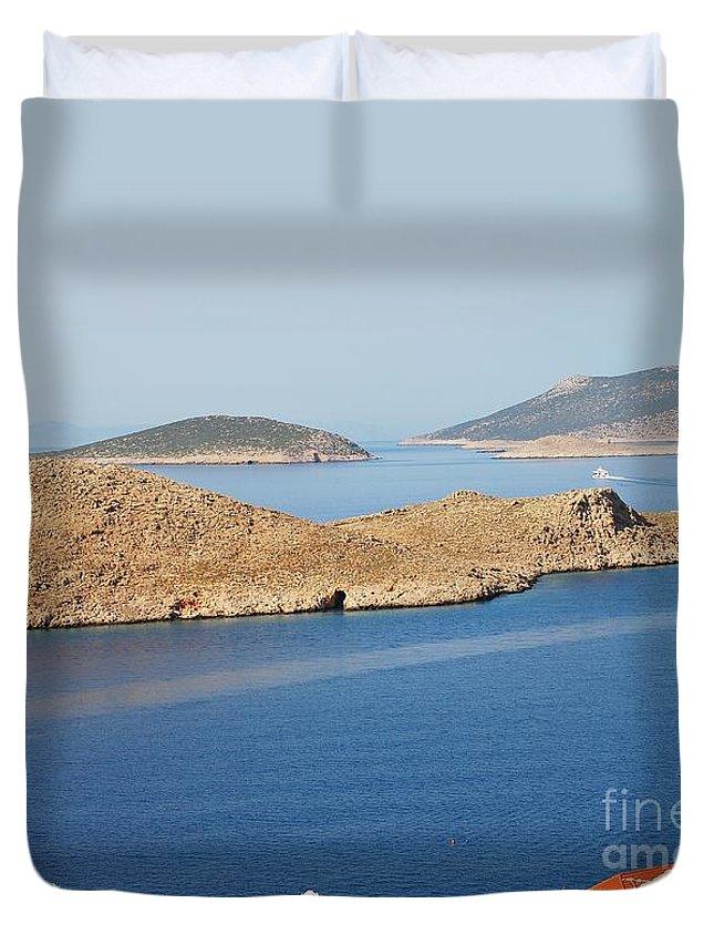 Halki Duvet Cover featuring the photograph Emborio Harbour On Halki Island by David Fowler