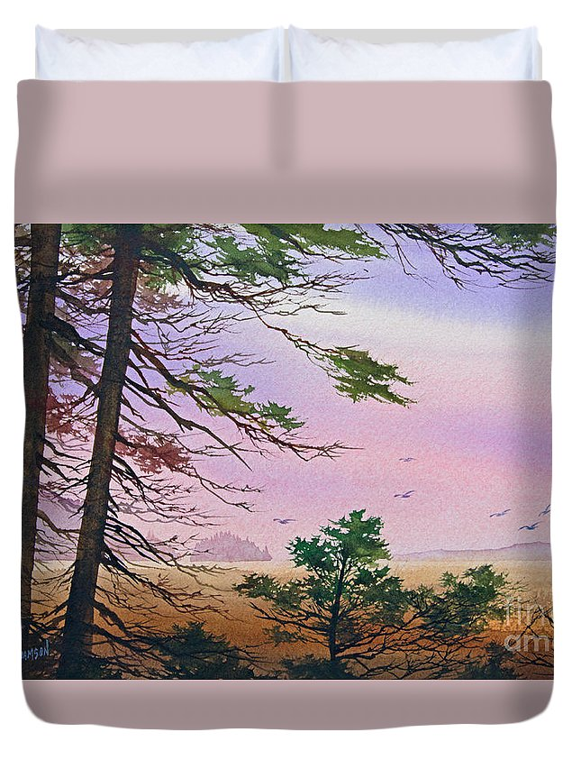 Embrace Print Duvet Cover featuring the painting Embrace Of Dawn by James Williamson