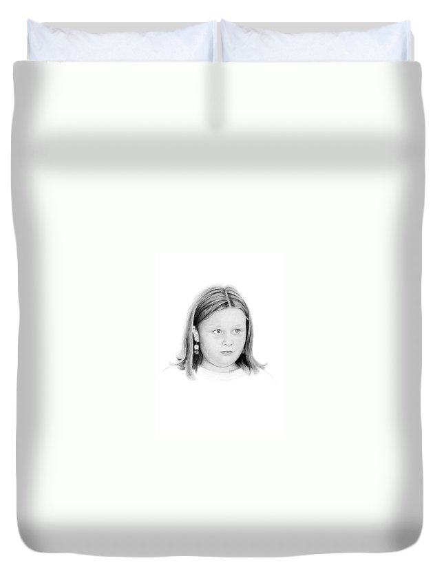 Portrait Duvet Cover featuring the drawing Emelie by Conrad Mieschke