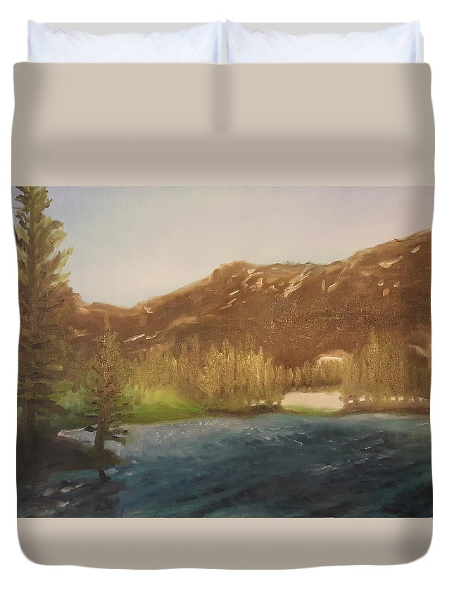 Duvet Cover featuring the painting Emerald Lake 1 by Jeffrey Oleniacz