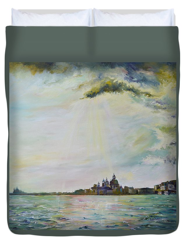 Cityscape Duvet Cover featuring the painting Emerald City Venice by Ksenia VanderHoff