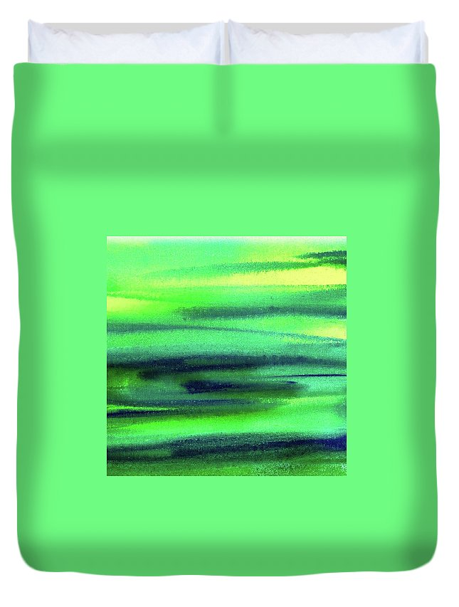 Emerald Duvet Cover featuring the painting Emerald Flow Abstract Painting by Irina Sztukowski
