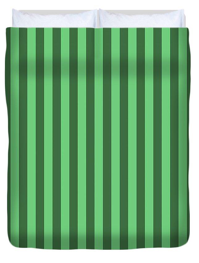 Emerald Duvet Cover featuring the digital art Emerald Green Striped Pattern Design by Ross