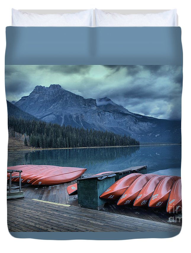 Emerald Lake Duvet Cover featuring the photograph Emerald Lake Canoes by Adam Jewell