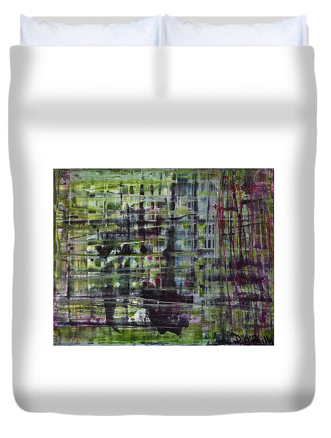 Duvet Cover featuring the painting Emerald Lake by Declan O'Reilly
