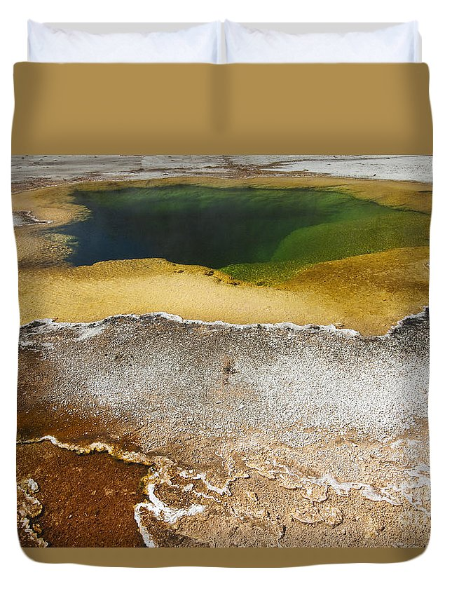 Yellowstone Duvet Cover featuring the photograph Emerald Pool - Yellowstone National Park by Sandra Bronstein