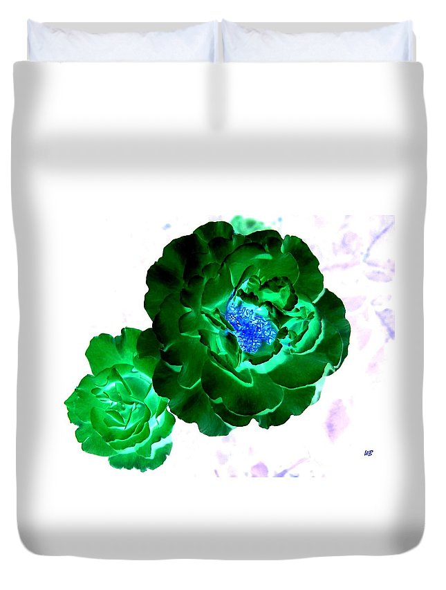 Rose Duvet Cover featuring the digital art Emerald Rose by Will Borden
